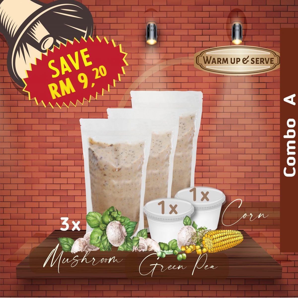 Cream of mushroom soup-Cream of corn soup-cream of green pea soup-cream of creams
